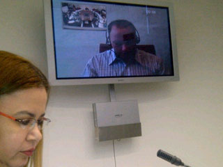 Raúl Díaz Peña durante su declaración via web a los Magistrados de la Corte Interamericana