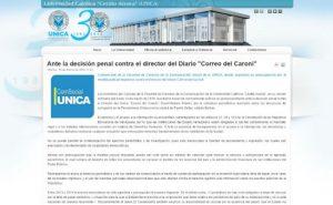 El comunicado fue publicado en el portal web de la institución universitaria www.unica.edu.ve