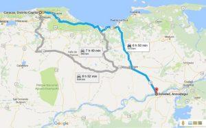 Recorrido aproximado de Lenín Bastidas en su caminata por la Libertad de Venezuela. (Google Maps)